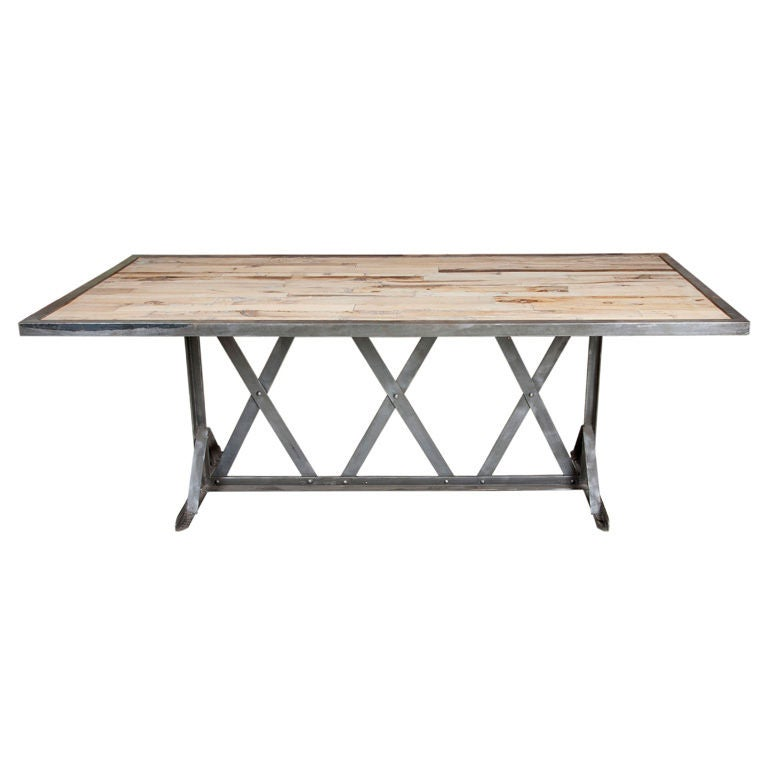 industrial metal x form base dining table at 1stdibs