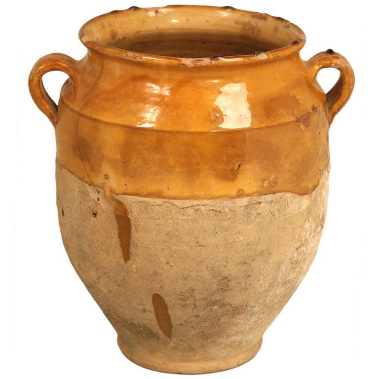 Original Antique French Confit Pot w/Gorgeous Carmel Gold Glaze