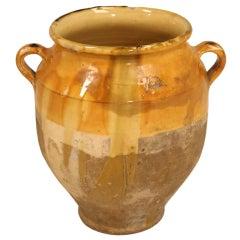 Original Authentic Antique French Confit Pot w/Great Multi-Tone Gold Glaze