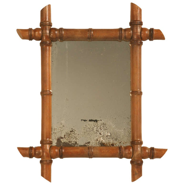 Petite Antique Continental Mirror in Faux Bamboo Frame For Sale