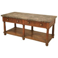 Circa 1810 Unrestored Antique French Empire 2 Drawer Mahogany Table with Shelf and Marble Top