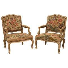 Wide Pair of Original Paint Antique Italian Armchairs with Needlepoint