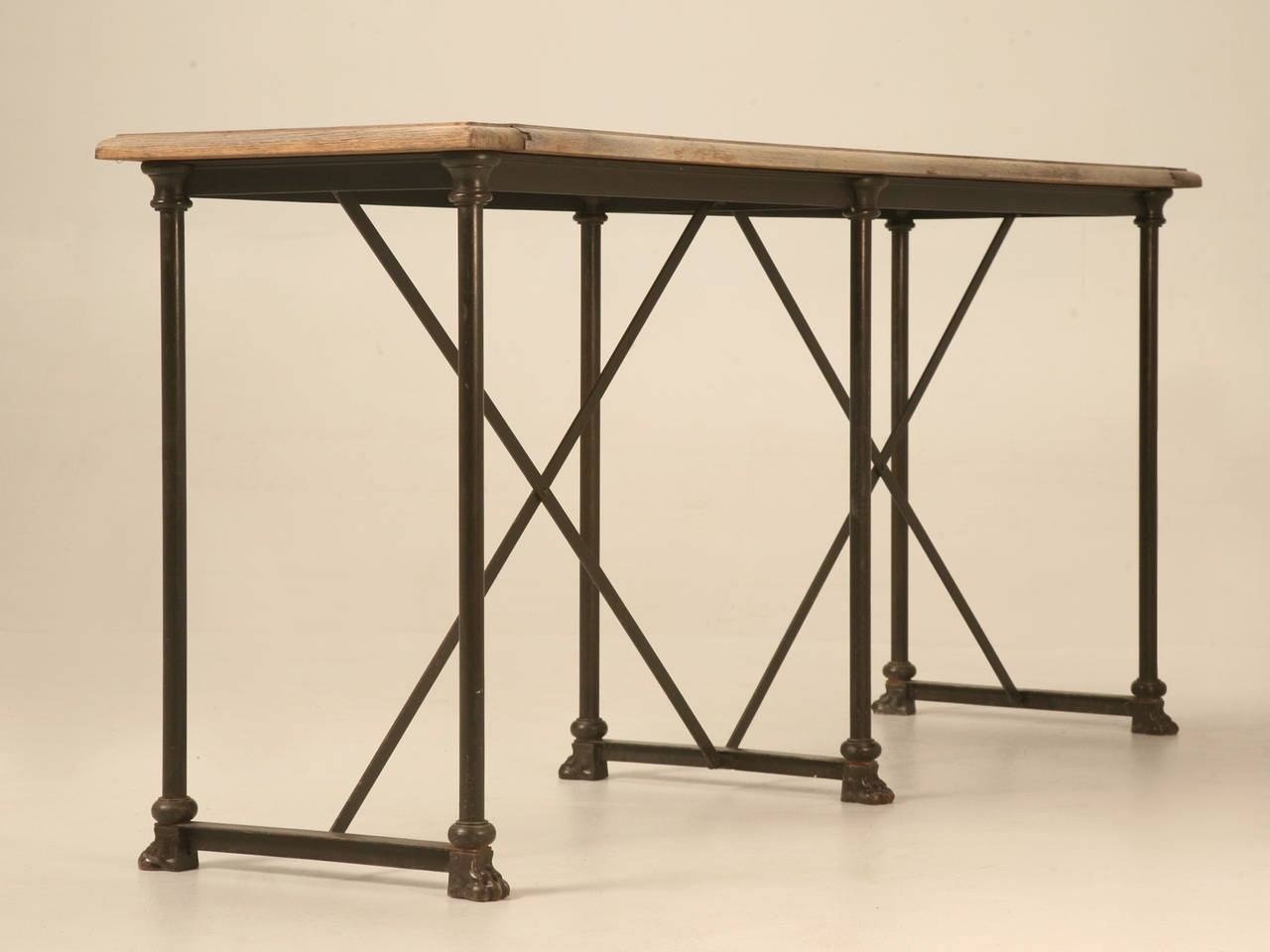Industrial oak and steel paw console table at 1stdibs for Cie no 85 table 4