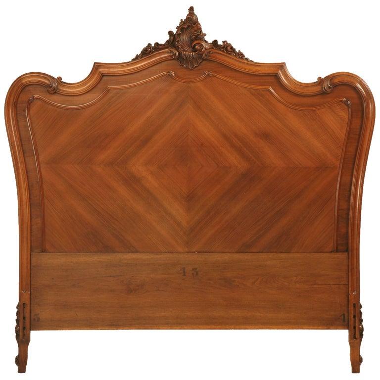Antique French Walnut Rococo Headboard Queen Conversion