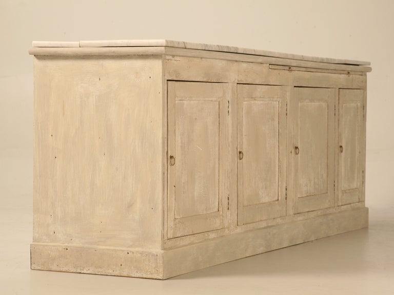 Original Paint Antique French 3 1/2 Door Pastry Counter with Marble  2
