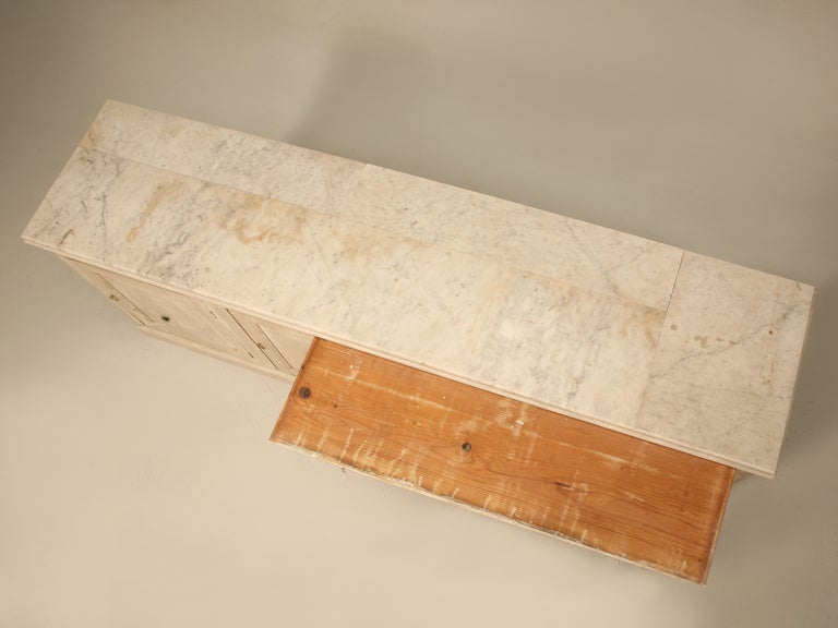 Original Paint Antique French 3 1/2 Door Pastry Counter with Marble  3