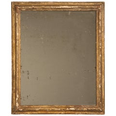 Circa 1800 Rustic Original Antique French Gilded Mirror with Heavy Patination*