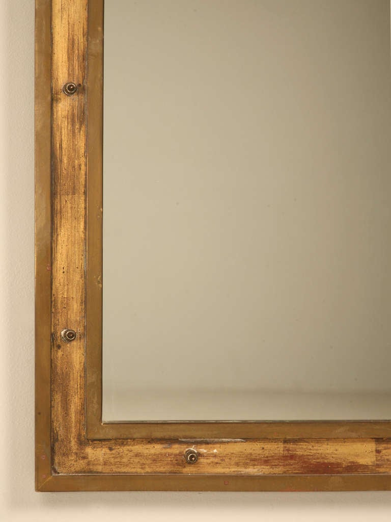 Vintage French Industrial Brass Mirror With Rivet