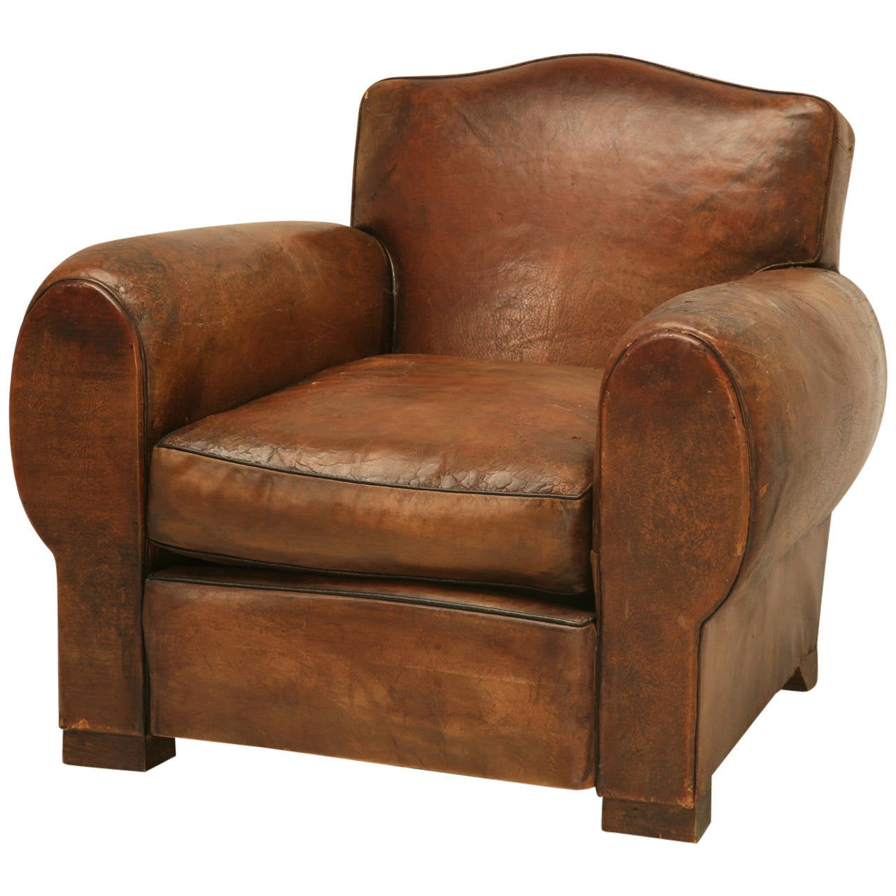 C1930's French Leather Club Chair For Sale