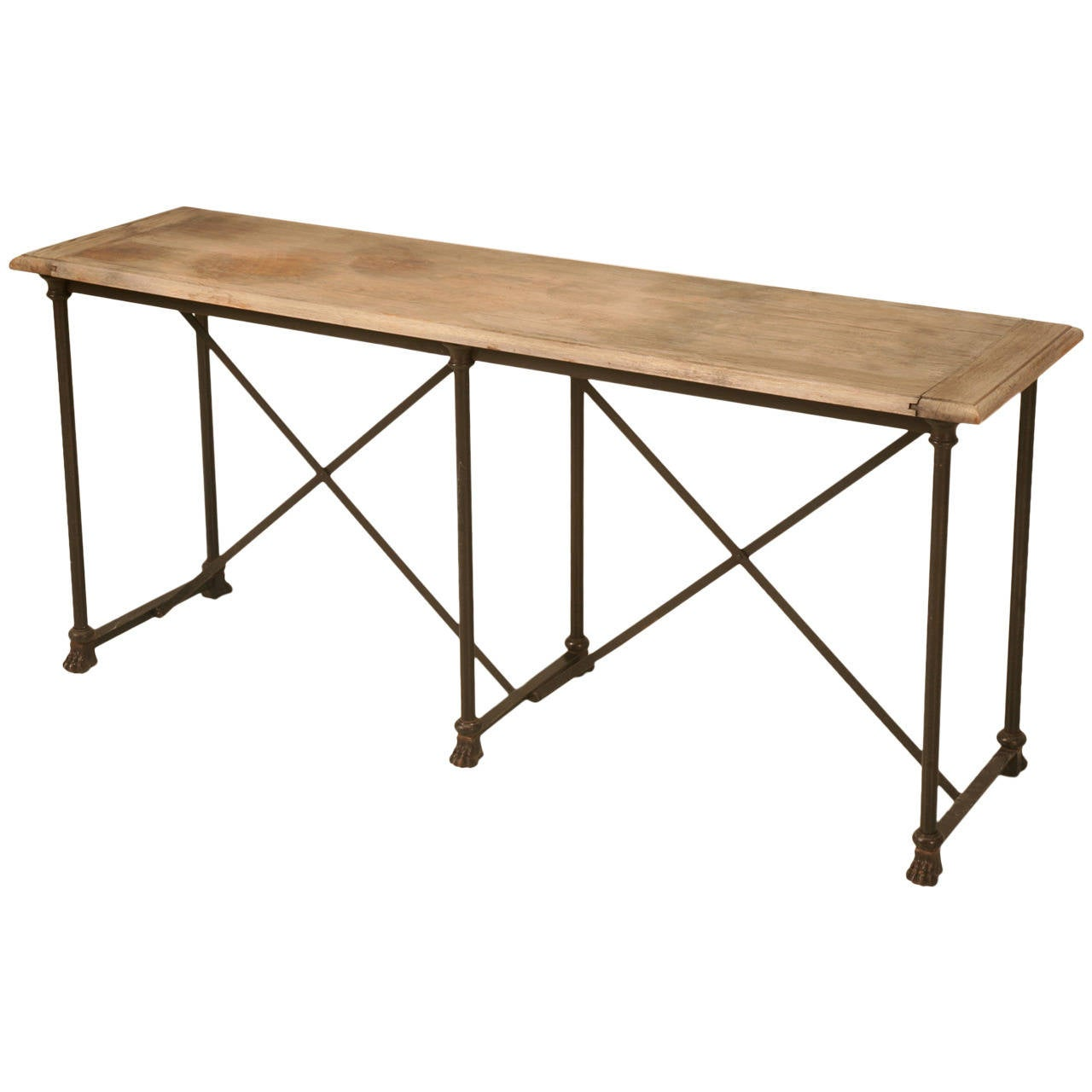 Industrial oak and steel paw console table at 1stdibs for Industrial couch
