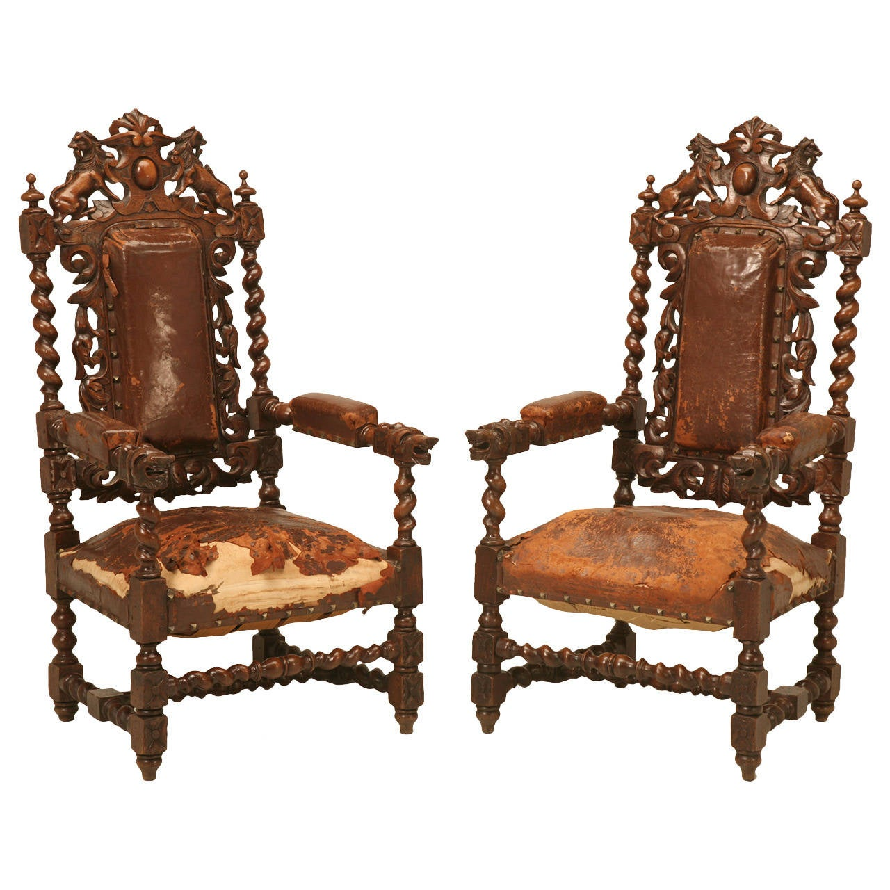 A Pair Of Period French Chairs With Missoni Fabric At 1stdibs: Pair Of French Barley Twist Over The Top Throne Chairs At