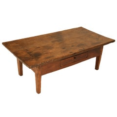 Original Antique French Oak & Pine Coffee Table w/Drawer & Wide Boards