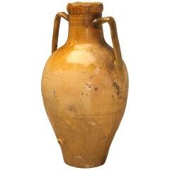 Italian Enameled Terracotta Olive Oil Jar from Puglia Region