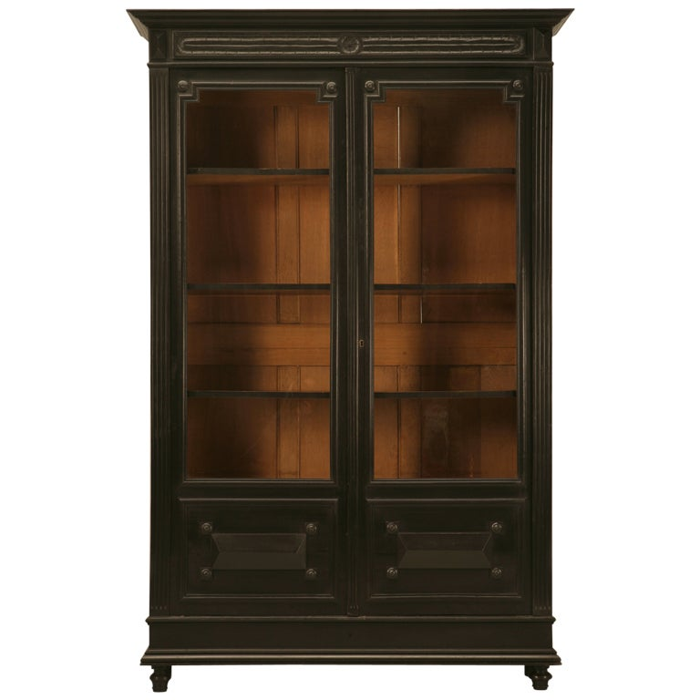 antique french napoleon iii bookcase or china cabi  at