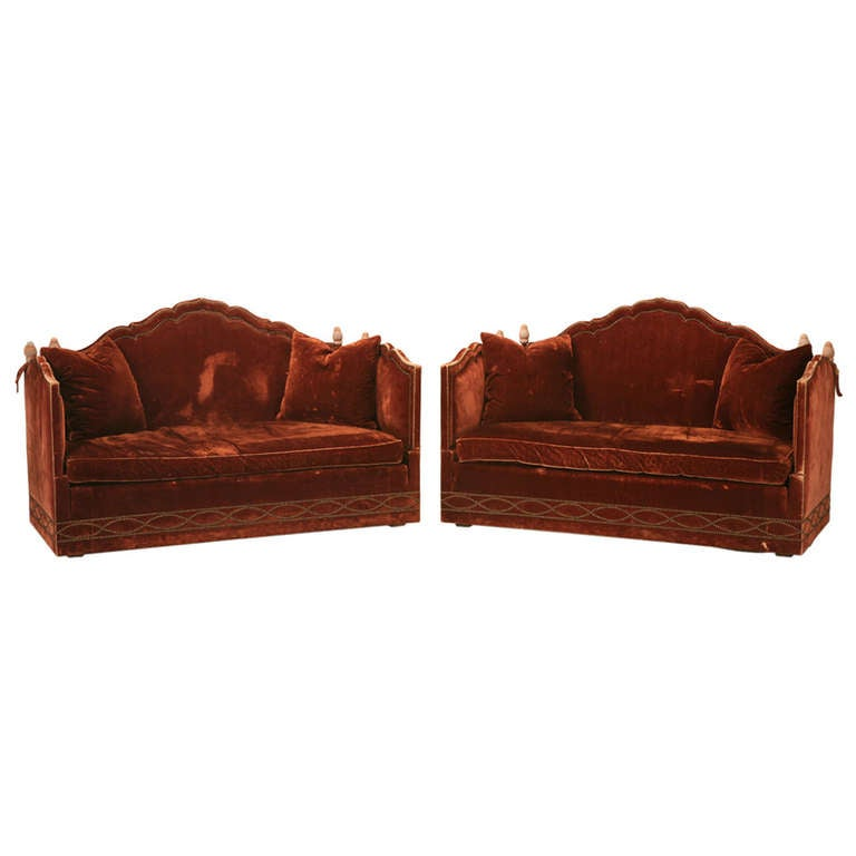 Antique Drop Arm Sofa: Pair Of Vintage Baker, Knole Style Sofas With Drop Sides