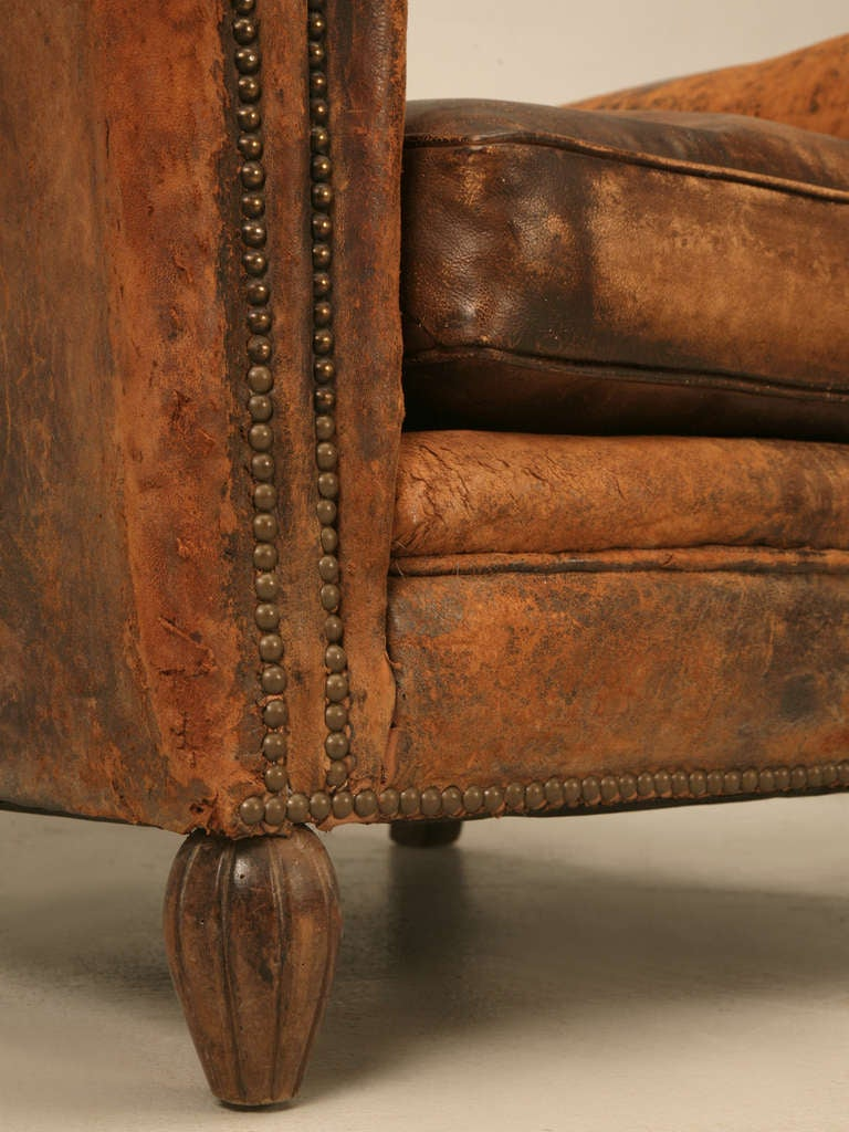 Of original vintage french distressed leather club chairs at 1stdibs