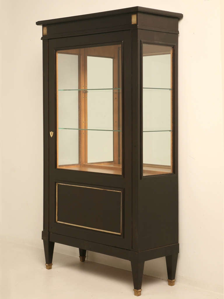 vintage french directoire ebonized fruitwood china cabinet or vitrine at 1stdibs. Black Bedroom Furniture Sets. Home Design Ideas