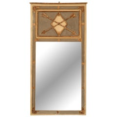 Antique French Directoire Mirror w/Diamond & Crossed Arrows