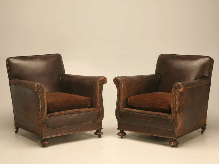 French Leather Club Chair Suite For Sale At 1stdibs