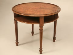 Vintage French Louis XVI Walnut End/Side/Center Table with Tooled Leather Top