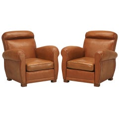 Incredible Pair Vintage French Original Leather Club Chairs--Restored Carriages
