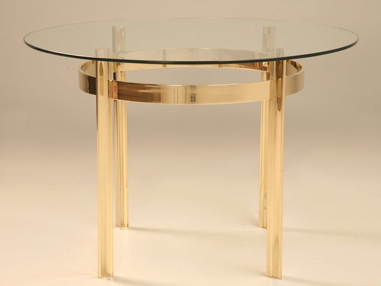 Mid Century Modern French Brass And Glass Dining Or Center