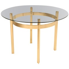 Mid Century Modern French Brass & Glass Dining or Center Table by Broncz