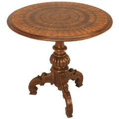 19th Century Hand Inlaid Pedestal Table