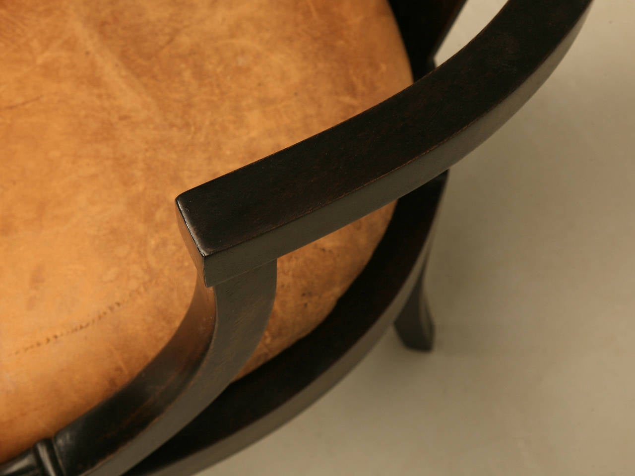 20th Century French Ebonized Mahogany Antique Desk Chair with a Leather Seat Cushion For Sale