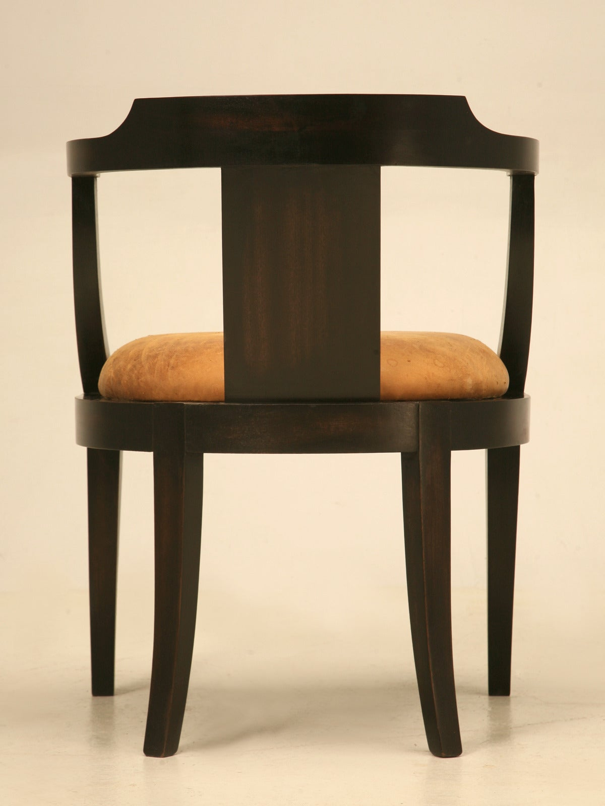 french ebonized mahogany antique desk chair with a leather seat cushion for sale at 1stdibs. Black Bedroom Furniture Sets. Home Design Ideas