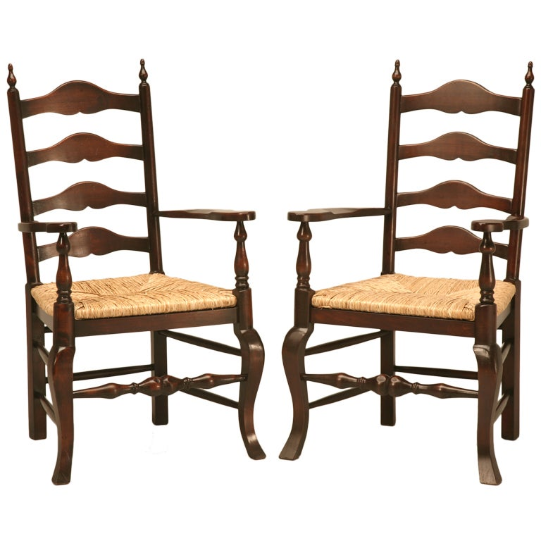 Awesome Pair Of Vintage English Solid Oak Ladder Back Arm Chairs W/Finials 1