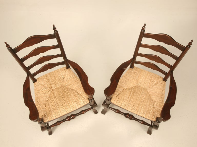 Awesome Pair Of Vintage English Solid Oak Ladder Back Arm Chairs W/Finials 2