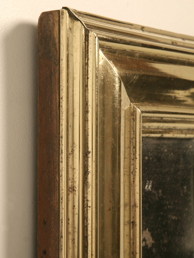 Amazing Original Antique French Brass Framed Bistro Mirror In Good Condition For Sale In Chicago, IL