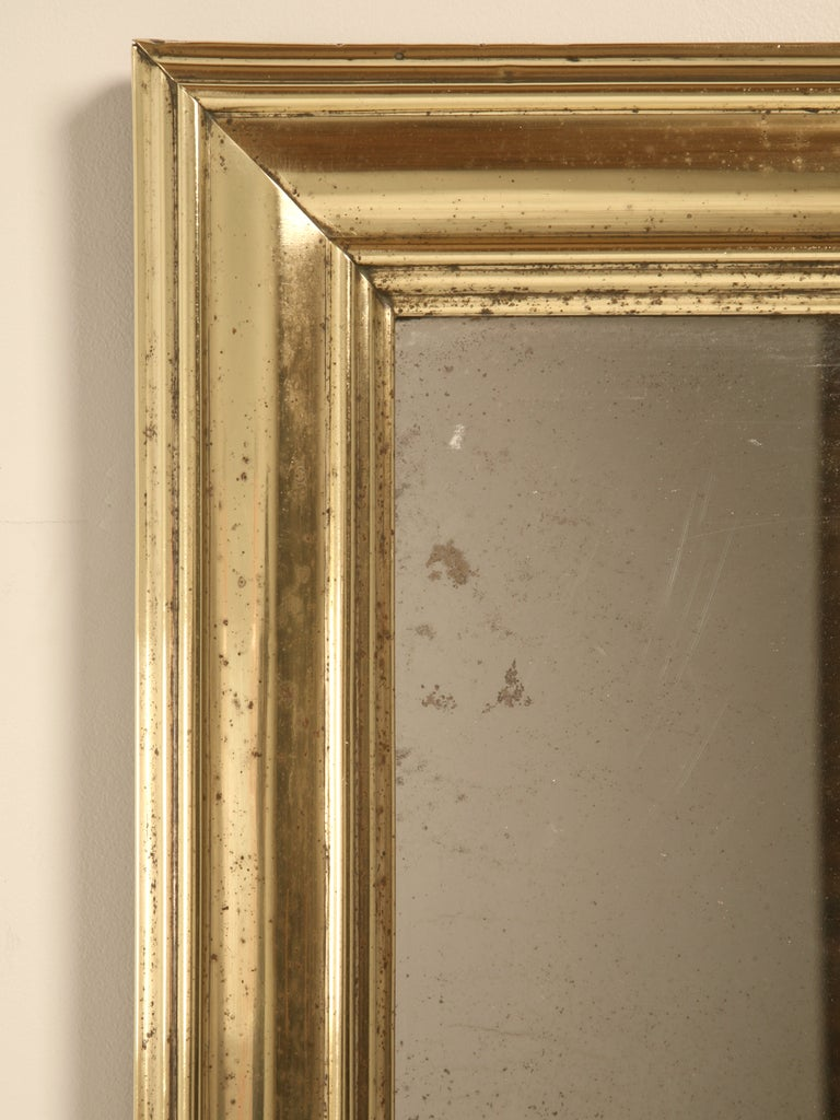 20th Century Amazing Original Antique French Brass Framed Bistro Mirror For Sale