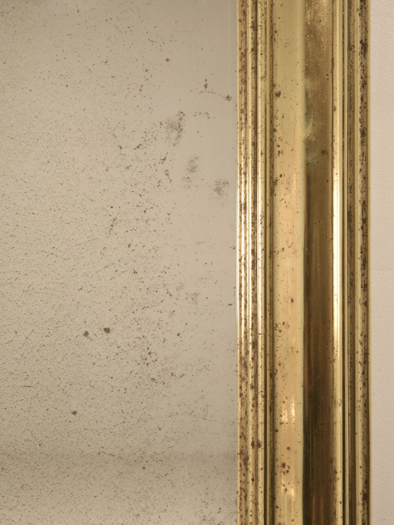 Amazing Original Antique French Brass Framed Bistro Mirror For Sale 2
