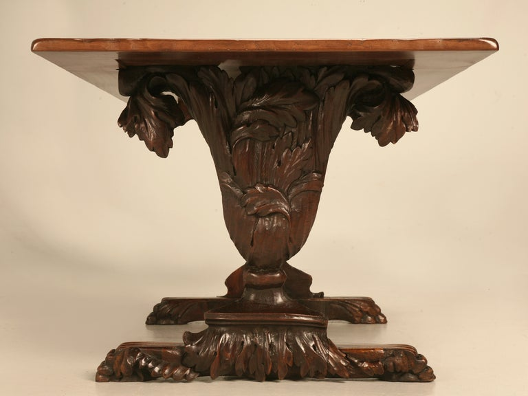 Hand Carved Organic Relief Antique French Solid Walnut Trestle Table In Good Condition In Chicago, IL