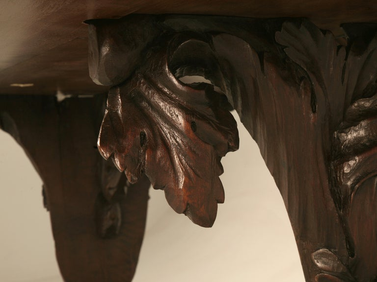 Early 20th Century Hand Carved Organic Relief Antique French Solid Walnut Trestle Table