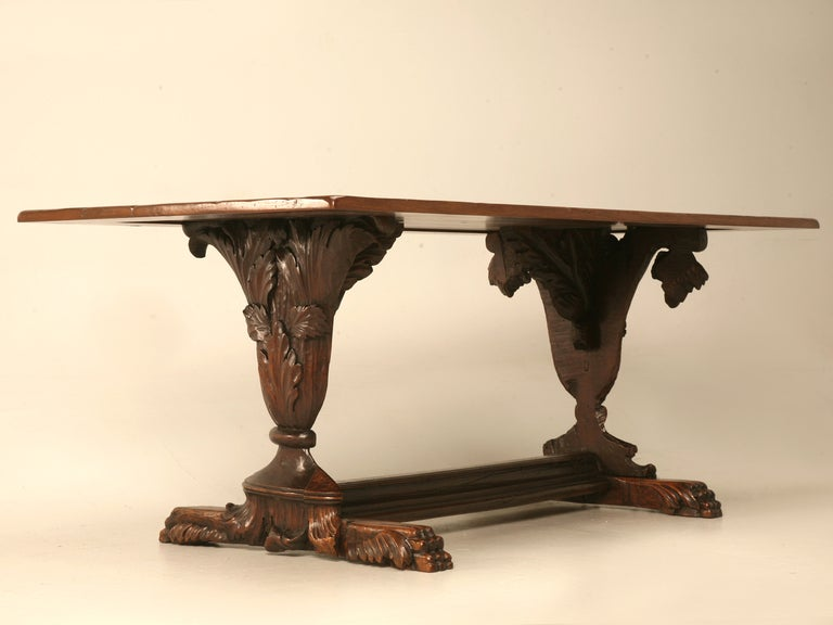 Hand Carved Organic Relief Antique French Solid Walnut Trestle Table 3