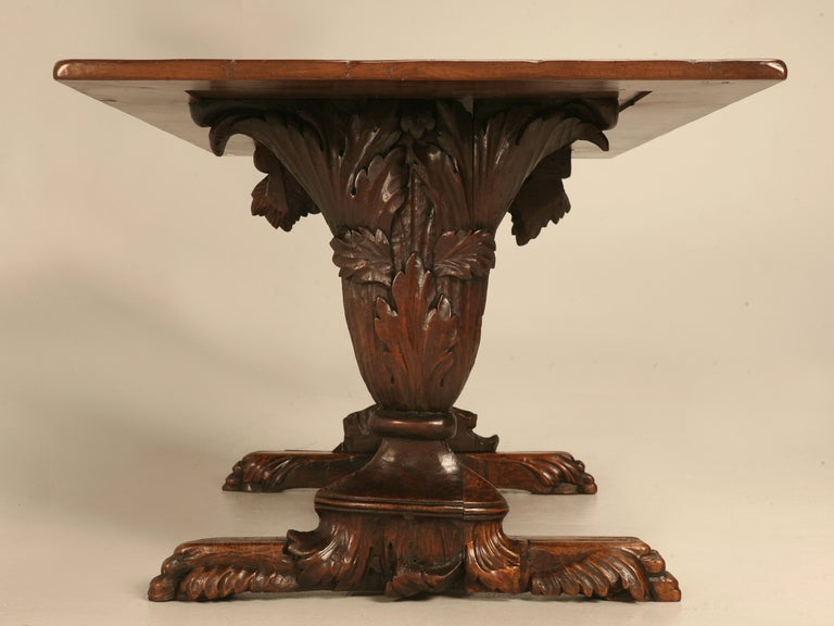 Hand Carved Organic Relief Antique French Solid Walnut Trestle Table 5