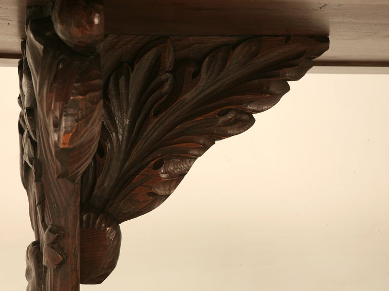 Hand Carved Organic Relief Antique French Solid Walnut Trestle Table 4