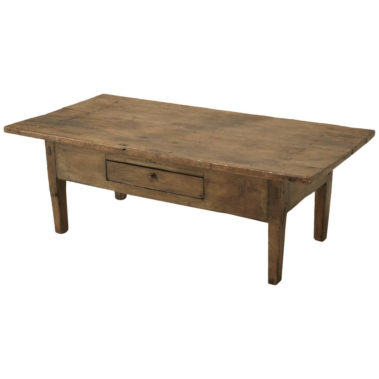 French oak and pine cut down table with a drawer and wide for Pine coffee table