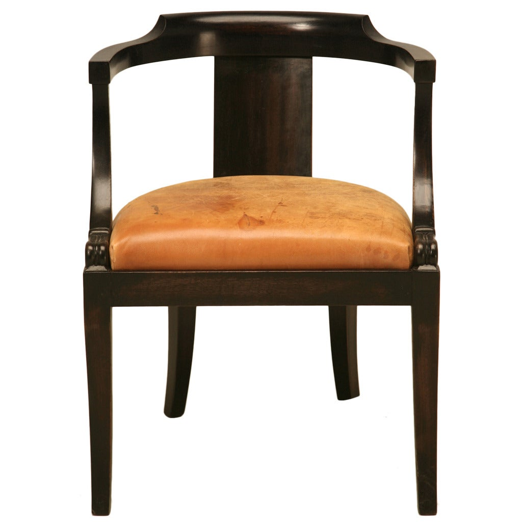 French Ebonized Mahogany Antique Desk Chair With A Leather