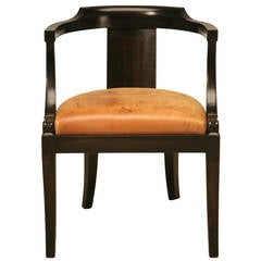 French Ebonized Mahogany Antique Desk Chair with a Leather Seat Cushion