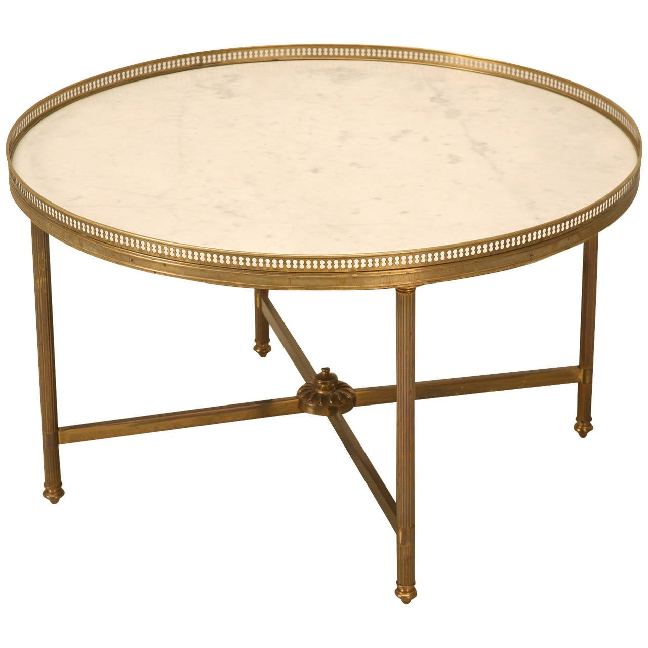 Vintage French Marble And Brass Cocktail Or Coffee Table For Sale At