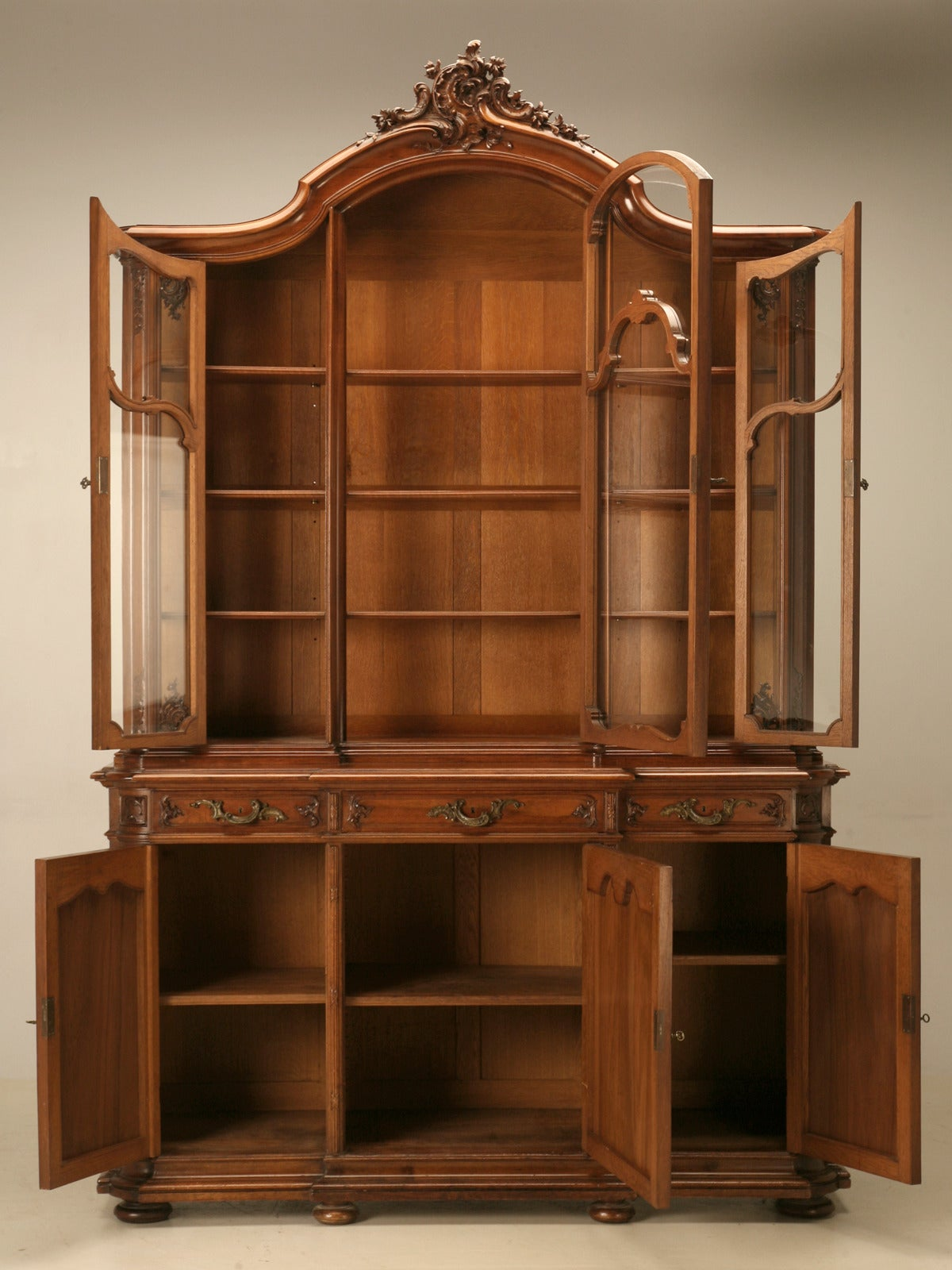 Antique French Walnut China Cabinet From Ch Jeanselme And