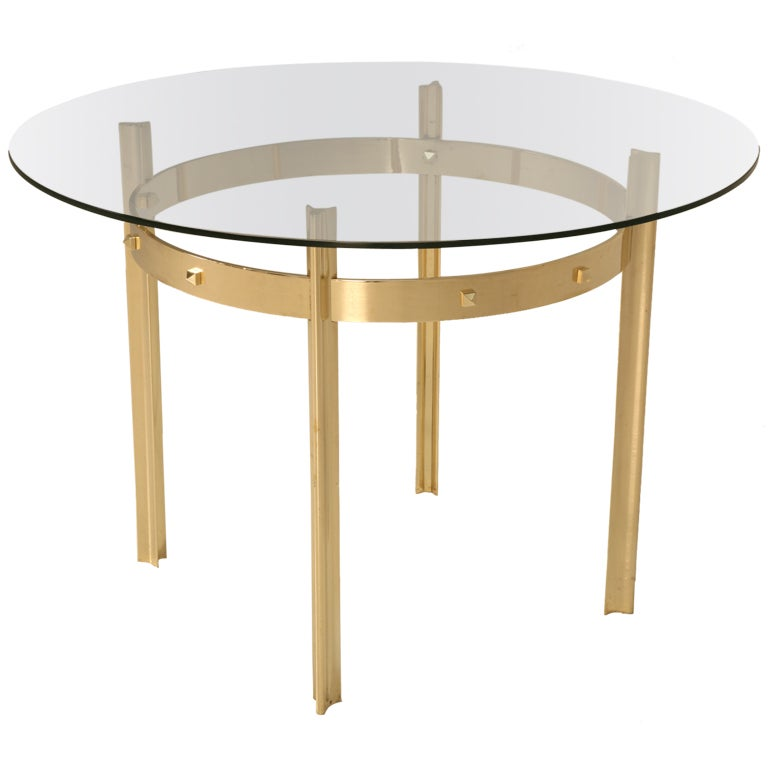 Vintage French Mid Century Modern Brass And Glass Dining