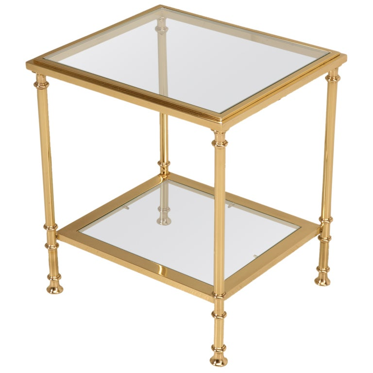 Glamorous Vintage French Solid Brass And Glass Two Tier