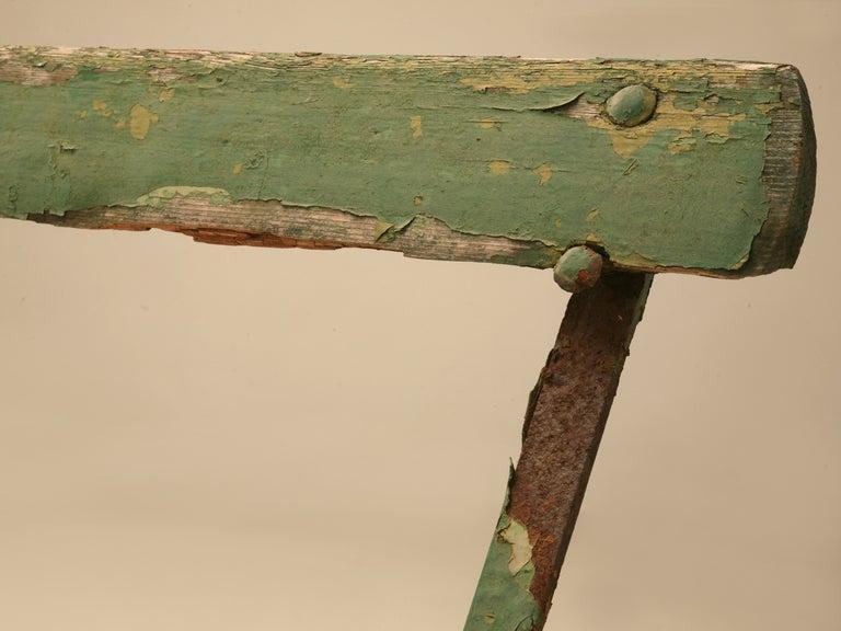 Original English Park Bench W Warm And Inviting Worn Green