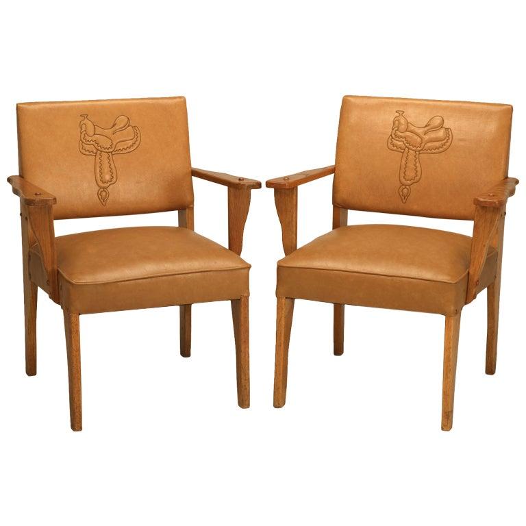"""Magnificent Pair of Original """"Ranch Oak"""" Cowboy Arm Chairs w/Saddle Decoration"""