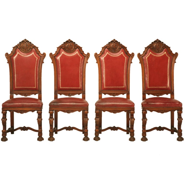 Decadent Set Of 4 Breathtaking Heavily Carved Old World Red Leather Side  Chairs 1